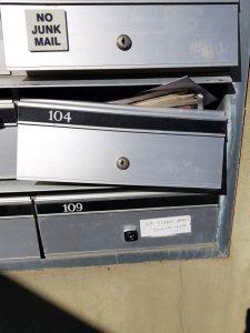 Broken locked mailbox